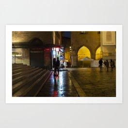 Night Lovers in Piazza Maggiore Bologna after the rain Art Print