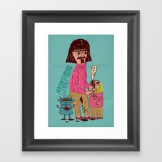 french father helps his son Framed Art Print