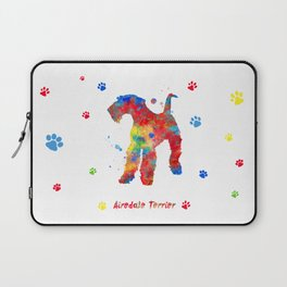 Airedale Terrier Watercolor Colorful Abstract Laptop Sleeve