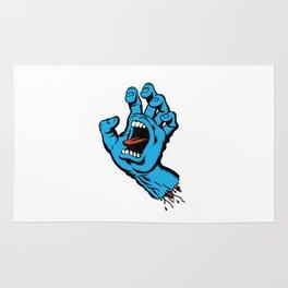 Skatebaording Screeming Hand Blue Rug