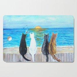 Cat Beach Sunset Cutting Board