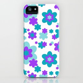 Turquoise Teal Blue and Purple Floral iPhone Case