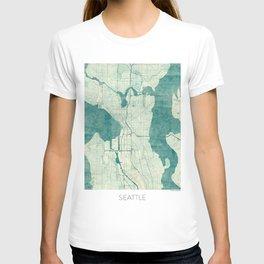 Seattle Map Blue Vintage T-shirt