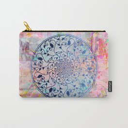 Pastel Boho Watercolor Mandala Vines Carry-All Pouch