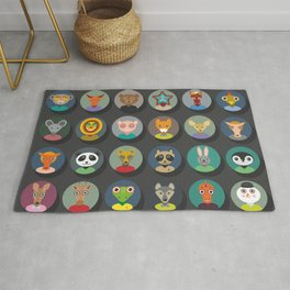 animals faces circle icons set in Trendy Flat Style. zoo Rug