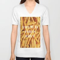 french fries V-neck T-shirts featuring French Fries Diet by Coconuts & Shrimps