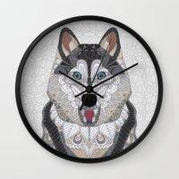 husky Wall Clocks featuring Happy Husky by ArtLovePassion
