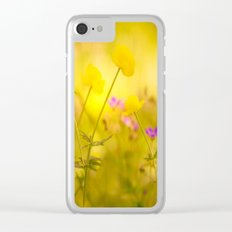 Wild flowers in the golden sunset shades Clear iPhone Case