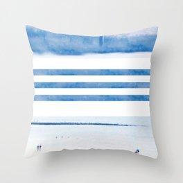 nautical stripes: blue Throw Pillow