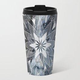 White mandala on blue Travel Mug