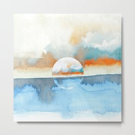 Orange Sea Drop Metal Print