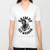 rick grimes V-neck T-shirts featuring Rick Grimes & .357 Magnum by SwanniePhotoArt