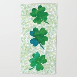 Lucky Watercolor Clovers Beach Towel