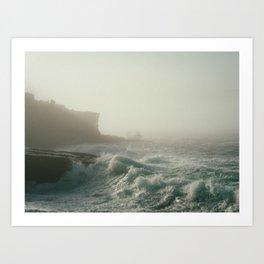 misty ocean waves Art Print