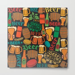 beer icons seamless pattern (hops leaf, wooden barrel, glass, can, mug, bottles) Metal Print