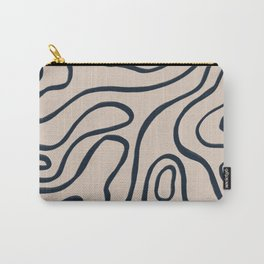 Topographic Map / Nude & Dark Blue Carry-All Pouch