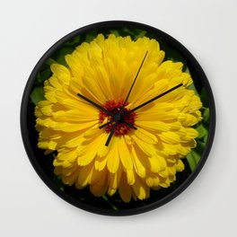 Holligold Blossoming Yellow Pot Marigold Flower  Wall Clock