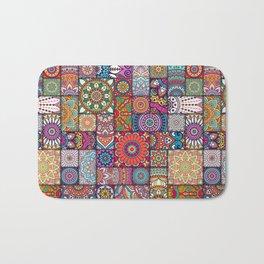 Boho Patchwork Quilt Pattern 2 Bath Mat