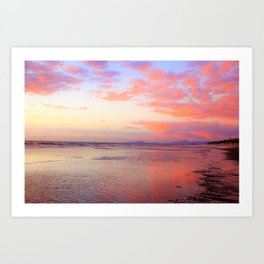 Looking Northwest on the Beach at Sunset by Reay of Light Art Print
