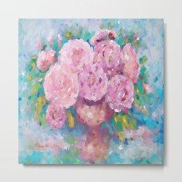 Pink Dreamy Roses Metal Print