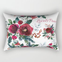 Red burgundy Christmas season floral bouquets love and peace script Rectangular Pillow