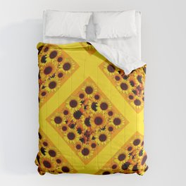 ABSTRACT GOLDEN YELLOW SUNFLOWERS  PATTERN  DESIGN Comforters