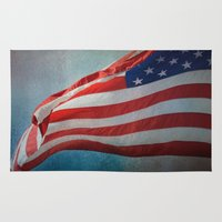 american flag Area & Throw Rugs featuring American Flag by Jai Johnson