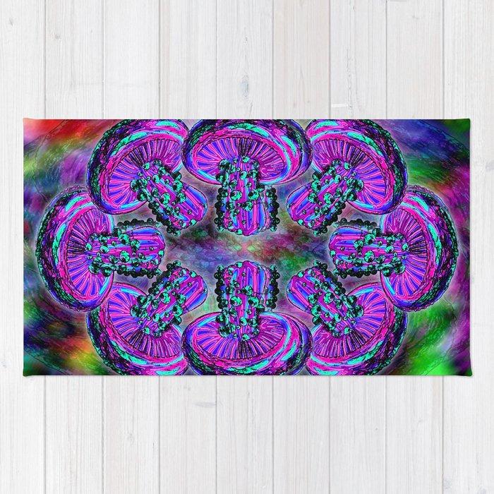 trippy shroom rug by grimdork society6