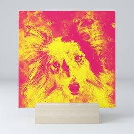 border collie dog 5 portrait wsyp Mini Art Print