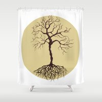 tree of life Shower Curtains featuring life tree by Mihai Paraschiv