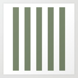 Camouflage green - solid color - white vertical lines pattern Art Print