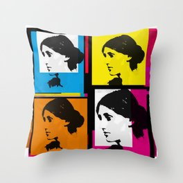 VIRGINIA WOOLF (FUNKY COLOURED COLLAGE) Throw Pillow