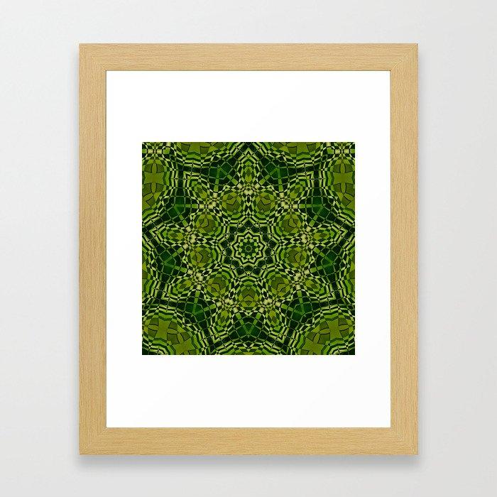 Green kaleidoscope Framed Art Print