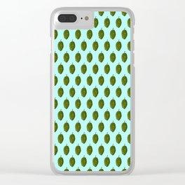 Hops Light Cyan Pattern Clear iPhone Case