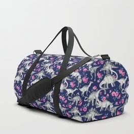Dinosaurs and Roses on Dark Blue Purple Duffle Bag