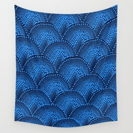 Many Blue Dots (Black Background) Wall Tapestry