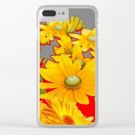 MODERN YELLOW FLOWERS GREY-RED ART Clear iPhone Case