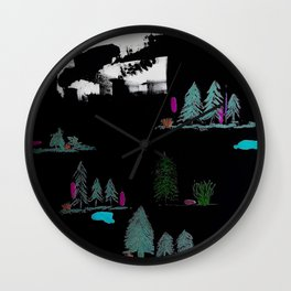 Through The Trees. Trees, Birds, Abstract, Black, White, Jodilynpaintings Wall Clock