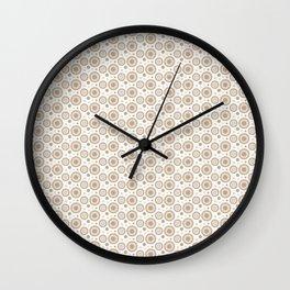 Pantone Hazelnut Polka Dots and Circles Pattern on White Wall Clock