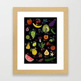 English fruit and vegetables alphabet on dark Framed Art Print
