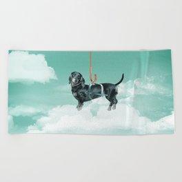 Dachshund chute Beach Towel