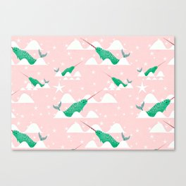 Sea unicorn - Narwhal green and pink Canvas Print