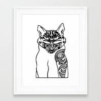 maori Framed Art Prints featuring Maori Kitty by Sofy Rahman