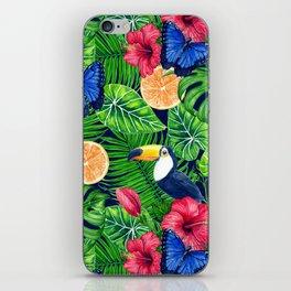 Toucan and tropical garden watercolor iPhone Skin