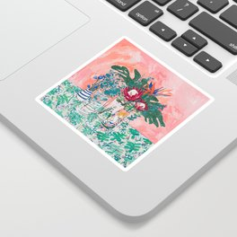 Cockatoo Vase - Bouquet of Flowers on Coral and Jungle Sticker