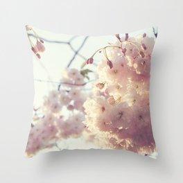 sunlit cherryflowers Throw Pillow