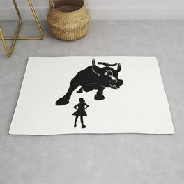 Girl vs Charging Bull - Fearless Girl Rug