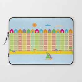 Beach cabins pattern stripes Laptop Sleeve
