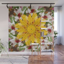K137 Yellow Flower Kaleidoscope Wall Mural
