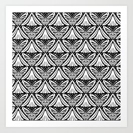 Butterfly and Flower Pattern Black & White 2 Art Print
